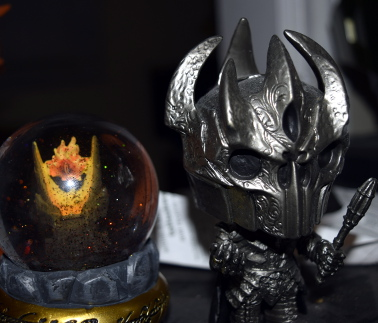 My little Sauron sitting next to his eye... Yes I do own these!